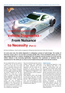 Vehicle Diagnostics - From Nuisance to Necessity (Part 1)