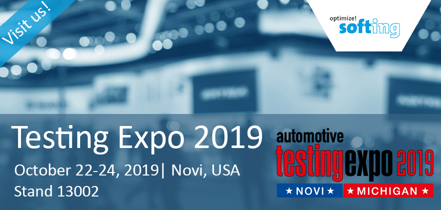 [Translate to Deutsch:] Visit Softing at the Automoitve Testing Expo in Novi, Mi, USA 2019